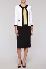 Contrast Framed Jacket Color White/Black/Lemonade Yellow