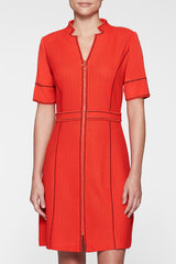 Textured A-Line Zip-Front Dress Color Poppy Red