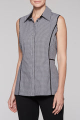Cotton Gingham Collared Tank Color Black/White