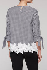 Gingham Floral Trim Tunic Color White/Black