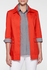 Stretch Cotton Gingham Trim Jacket Color Poppy Red/Black/White