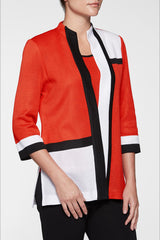 Mondrian Colorblock Cardigan Color Poppy Red/Black/White