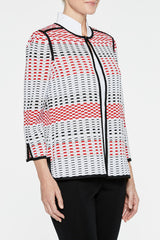 Grated Pattern Jacket Color Poppy Red/White/Black