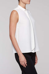 Crème de Chine Tie-Neck Blouse Color White