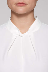 Crème de Chine Twist High-Neck Blouse Color White