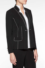 Plus Size Dotted Stitch Contrast Blazer, Black/White