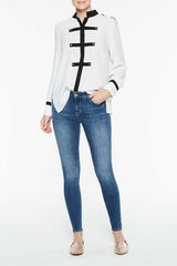 Military Trim Blouse Color White/Black