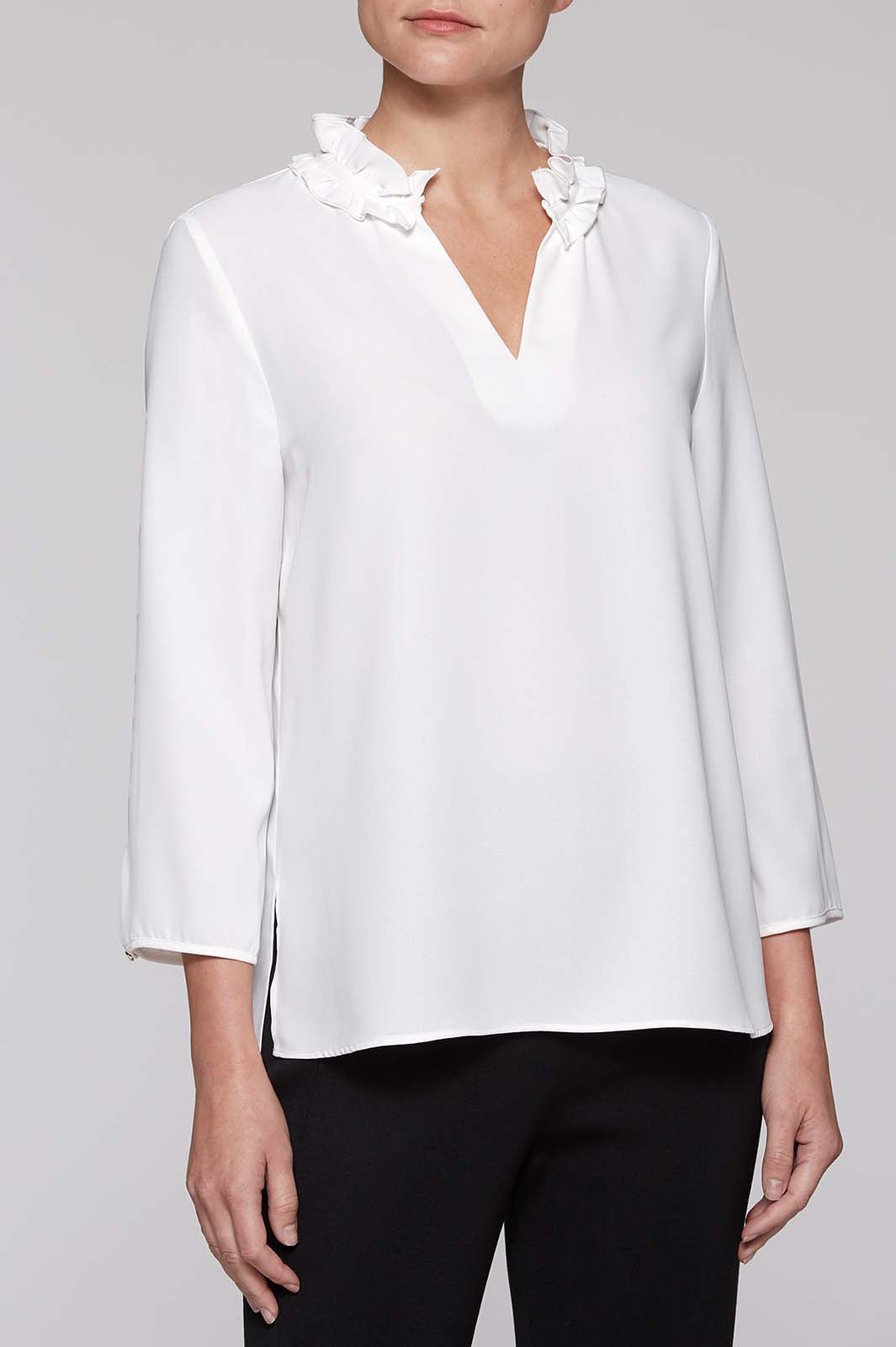 25a0dc100b3db7 Women s White Ruffle Neck Blouse