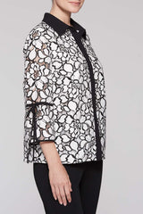 Lace Pattern Tie Sleeve Blouse Color Black/White