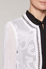 Embossed Chain Trim Jacket Color White