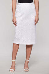 Tonal Paisley Skirt Color White