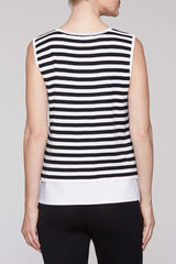 Layered Stripe Tank Color White/Black