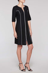 Zip Gingham Trim Dress Color Black/White