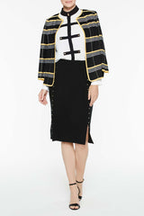 Ottoman Plaid Jacket Color Black/Sunrays/White