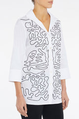Plus Size Abstract Soutache Detail Cotton Poplin Tunic – Ming Wang