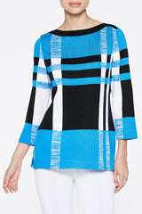 Bold Plaid Tunic Color Twilight Blue/Black/White