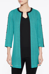 Open Weave Trimmed Duster Color Bermuda Teal/Black/White