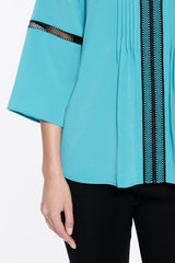 Crepe De Chine Tucked Blouse Color Bermuda Teal/Black
