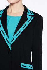 Pattern Trim Blazer Color Black/Bermuda Teal