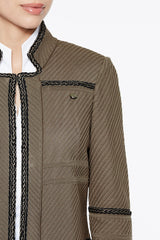 Mandarin Braided Trim Jacket Color Cappuccino Brown/Black