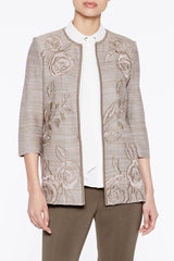 Floral Melange Jacket Color Cappuccino Brown/New Ivory/Pink Satin