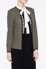 Crochet Trim Tweed Jacket Color Cappuccino Brown/Black/New Ivory