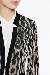 Animal Print Jacket Color Cappuccino Brown/Black/Pink Satin