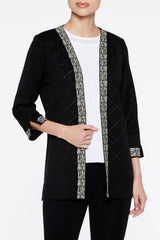 pattern trim Cardigan Color Black/Cappuccino Brown/Seashell Beige/White