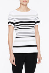 Striped Knit Tee Color Ivory/Black/Mercury/Heather