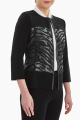 Sheer and Faux Leather Detail Jacket Color Black