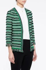 Multi Tweed and Fringe Jacket Color Forest Green/Limestone Green/Black/Ivory
