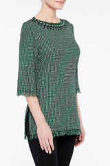 Multi Tweed and Fringe Tunic Color Forest Green/Black/Ivory