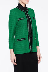 Texture and Detail Pocket Jacket Color Forest Green/Black/Ivory