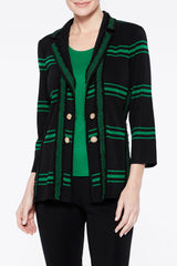 Bold Plaid Double Button Jacket Color Forest Green/Black