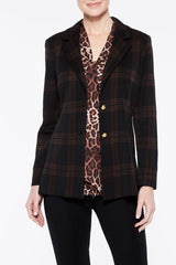 Soft Plaid Blazer Color Black/Coffee Brown/Cognac Brown