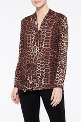 Cheetah Print Tie Neck Blouse Color Coffee Brown/French Vanilla Beige/Cognac Brown