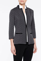 Plus Size Herringbone Pattern Knit Jacket Color Granite Grey/Black
