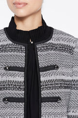 Military Pattern Knit Jacket Color Granite Grey/Black/Silver Mist