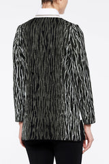 Abstract Animal Pattern Knit Jacket Color Granite Grey/Black