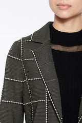 Graphic Plaid Knit Jacket Color Granite Grey/Black/Silver Mist