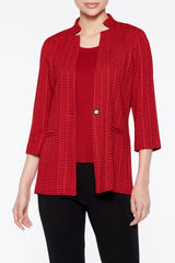 Plus Size Notch Collar Textured Knit Blazer Color Bonfire Red