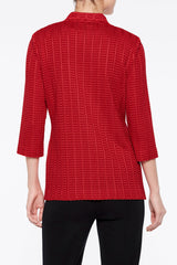 Notch Collar Textured Knit Blazer Color Bonfire Red