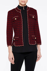 Plus Size Braided Trim Houndstooth Tweed Jacket Color Bonfire Red/Black/Gold