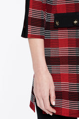 Subtle Plaid Knit Duster Color Bonfire Red/Black/Ivory