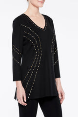 Plus Size Gold Stud Hourglass Knit Tunic Color Black/Gold