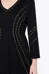 Gold Stud Hourglass Knit Tunic Color Black/Gold