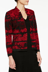 Plus Size Landscape Pattern Knit Jacket Color Bonfire Red/Black