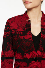 Landscape Pattern Knit Jacket Color Bonfire Red/Black