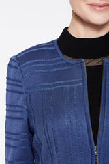 Zip Front Textured Knit Jacket Color Spectrum Blue