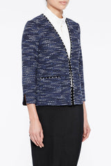 Pearl Trim Tweed Jacket Color Spectrum Blue/Antique White/Black